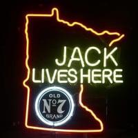 579de038fffd1b Jack Daniels Lives Here Minnasota Whiskey Neon Bier Bar Bord
